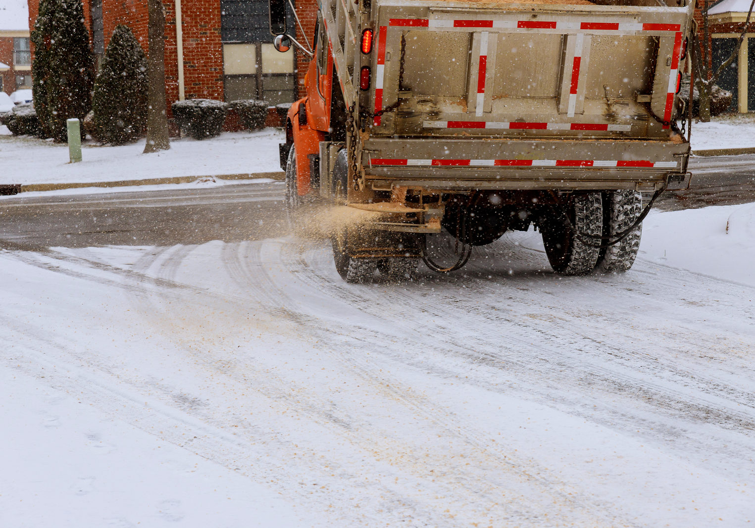 municipal car for sprinkle half the salt and sand on roads with snow machine for sprinkling sand roads